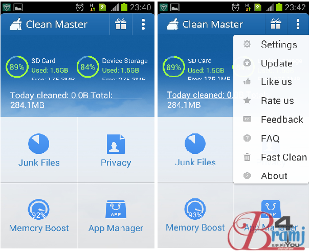 clean master home screen and upper menu