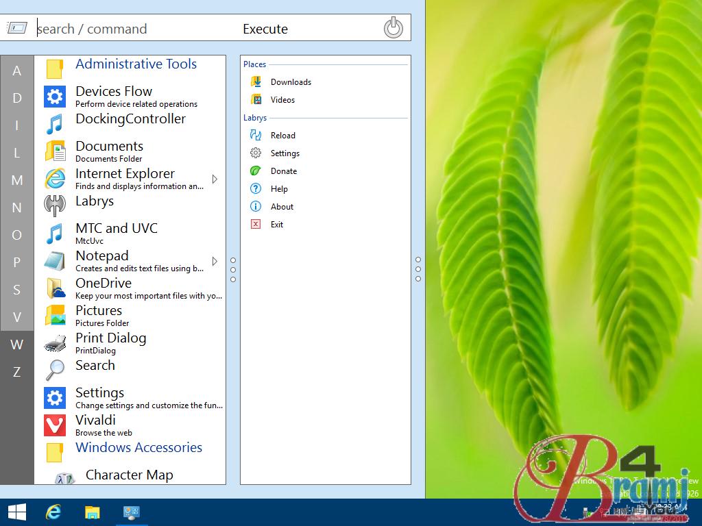 screenshot of the Labrys Start menu running on Windows 10